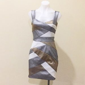 Jessica McClintock silver&gold strappy dress